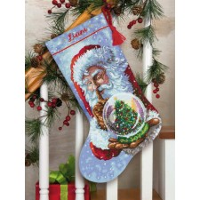 CROSS STITCH STOCKING KIT SANTA' S SNOW GLOBE
