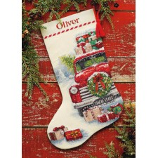 CROSS STITCH STOCKING KIT SANTA' S TRUCK