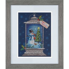 CROSS STITCH KIT SNOWMAN LANTERN