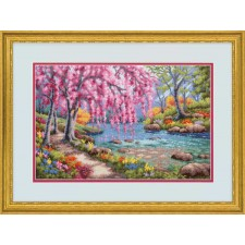 CROSS STITCH KIT CHERRY BLOSSOM CREEK