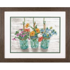 CROSS STITCH KIT FLOWERING JARS