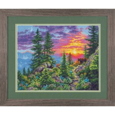 CROSS STITCH KIT SUNSET MOUNTAIN TRAIL