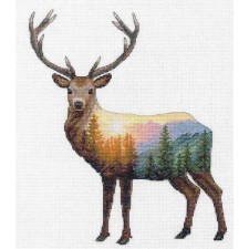 CROSS STITCH KIT DEER SCENE