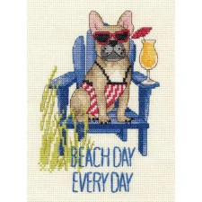 CROSS STITCH KIT BEACH DAY DOG