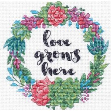 CROSS STITCH KIT SUCCULENT WREATH