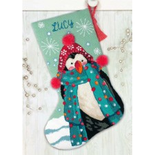 EMBROIDERY KIT FUZZY PENGUIN STOCKING