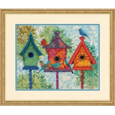 EMBROIDERY KIT COLORFUL BIRDHOUSE