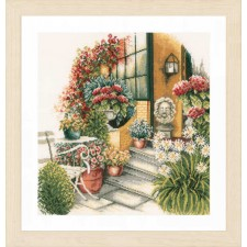 Counted cross stitch kit Terrace in autumn bloom