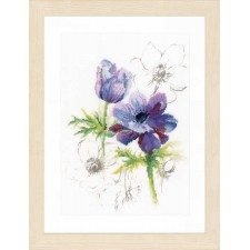 Counted cross stitch kit Blue anemones
