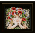 Counted cross stitch kit Girl with flowers