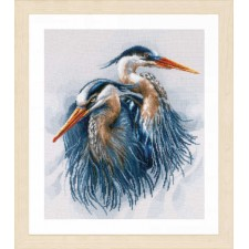 Counted cross stitch kit Great blue herons
