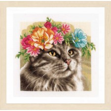 Counted cross stitch kit Flower crown Maine coon