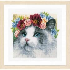 Counted cross stitch kit Flower crown Ragdoll