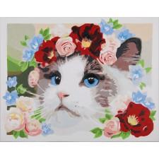 Paint by Number kit Ragdoll met bloemenkrans