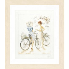 Counted cross stitch kit Girls on bicycle
