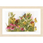 Counted cross stitch kit Butterflies & coneflowers