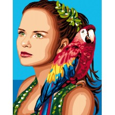 Canvas Woman with parrot