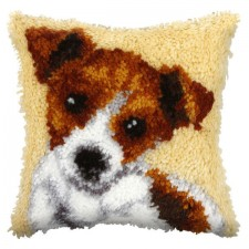 Latch hook cushion Puppy