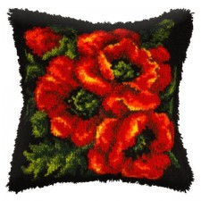 Latch hook cushion Red Roses
