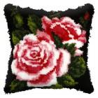 Latch hook cushion Rose