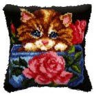 Latch hook cushion Rose and Kitten