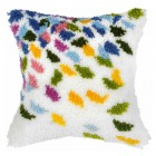 Latch hook cushion Coloured leaves