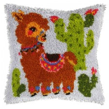 Latch hook cushion Llama