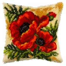 Latch hook cushion Poppy