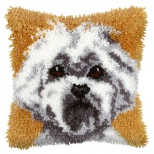 Latch hook cushion Puppy Dog