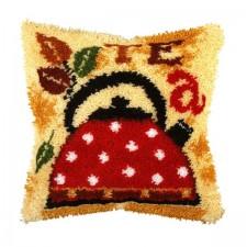 Latch hook cushion Tea