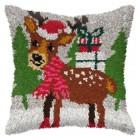 Latch hook cushion Christmas Reindeer