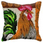 Latch hook cushion Rooster