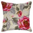 Latch hook cushion Roses