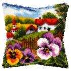 Latch hook cushion Landscape