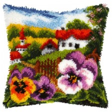Latch hook cushion Landscape