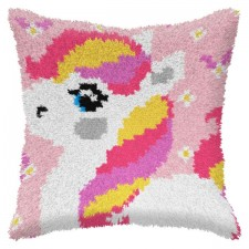 Latch hook cushion Unicorn