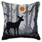 Latch hook cushion Night landscape with deer