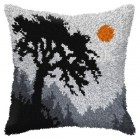Latch hook cushion landscape with Tree
