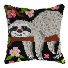 Latch hook cushion Sloth