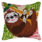 Latch hook cushion Sloth