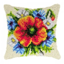 Latch hook cushion Wild Flowers