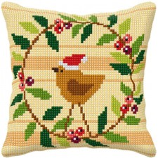 Cross stitch cushion kit Christmas Bird