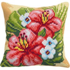 Cross stitch cushion kit Hibiscus