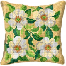 Cross stitch cushion kit White Flowers
