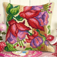 Cross stitch cushion kit Exotic flowers