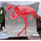 Cross stitch cushion kit Flamingo