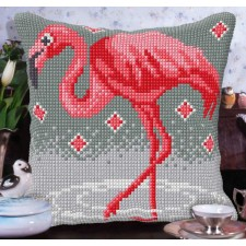 Cross stitch cushion kit Flamingo