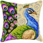 Cross stitch cushion kit Peacock