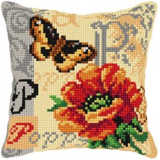 Cross stitch cushion kit Poppy
