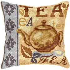 Cross stitch cushion kit Tea